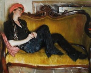Gold Velvet Sofa, Glenn Harrington