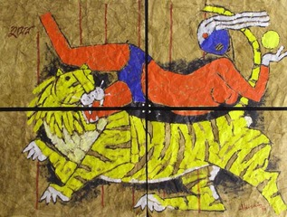 UNtitle (Woman with Tiger 4), M.F.Husain
