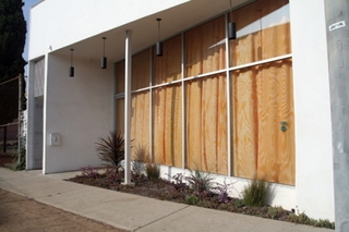 Plywood Curtains at 995 N. Hill, LA, CA (installation view),Jennifer Bolande