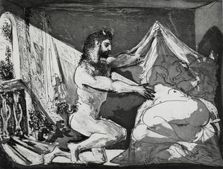 Faune dévoilant une dormeuse (Jupiter et Antiope, d\'après Rembrandt),[Faun Revealing a Sleeping Woman (Jupiter and Antiope, after Rembrandt)], Pablo Picasso