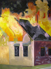 Burning House, Night, Vertical, Lois Dodd