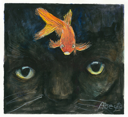 Cat with Goldfish,Maggie Abeyta
