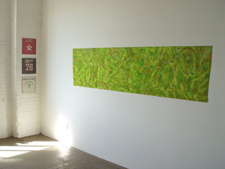 Grouping of 3 Senegalese records (left) Untitled, 2006, acrylic on rowlux, 26 x 90 inches (right) , Gilbert Hsiao