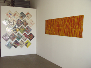 Grouping of 22 records (left) Untitled, 2006, acrylic on rowlux, 26 x 90 inches (right), Gilbert Hsiao
