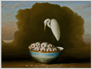 Egret, Roses, and Landscape, David Kroll