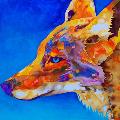 Painting of a coyote head done in a water color effect with warm colors and a blue background. (from Joanne Gallery: http://www.artslant.com/mia/works/show/407052 )
