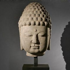 Ancient Asian Artifact, Sandstone Buddha Head,