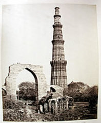 Kutub Minar with the Great Arch,  from the West Delhi , Samuel Bourne