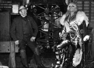 "Famous pro wrestler ""Exotic"", Adrian Street, and his father a working miner at the pit-head. South Wales., Dennis Hutchinson"