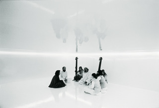 Initiation room N°2 (From L to R Tania Mouraud, Terry Riley, Ann Riley, Pandit Pran Nath, La Monte Young, Marian Zazeela), Tania Mouraud
