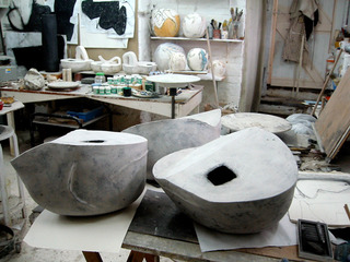 Work in progress in the artist\'s studio, Gordon Baldwin