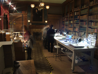 Installation view of the ongoing assessment of discovered artifacts, temporarily housed in the historic Goldwin Smith Library of The Grange.,Iris Häussler