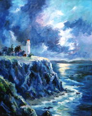 Moonlight at Pt. Vicente Lighthouse,Kathryn Stinis