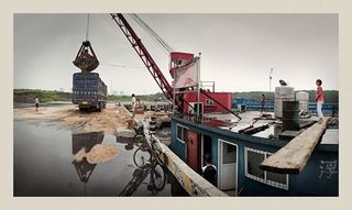 """Unloading Sand, Yuejin Port, Grand Canal"" Jining, Shandong Province, China (PRC), Philipp Scholz Rittermann"