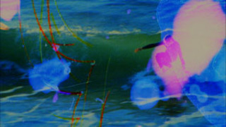 Dawn Surf (16mm film neg sanded with surfboard shaper, sex wax melted on, dripped, splashed, sprayed and rubbed with hot chocolate, donuts, cuervo, uggs, zinc oxide, tecate, sand, scraped with a shark\'s tooth, floated with kelp in the waves - surfing perf, Jennifer West