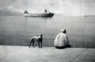 Dog, Man and Departing Boat,Bill Frederick