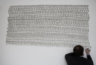 Mekhitar Garabedian, installing his work, Mekhitar Garabedian