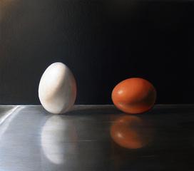 Brushed Steel Eggs, Jeanne Vadeboncoeur
