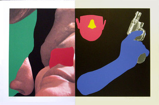 Noses & Ears, Etc.: Couple and Man with Gun,John Baldessari
