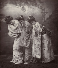 Sibyl Grey, Leonora Braham, and Jessie Bond in The Mikado,