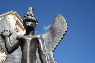 Roberto Cuoghi\'s statue of Pazuzu on the roof of the ICA., Roberto Cuoghi