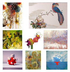 A selections of work from the exhibit, Jan Wunderman, Daniel Borlandelli, Roberley Bell, Lynda Pizzuto, Tim Ripley, Cathy Hozack, Erica-Lynn Huberty, Thomas Mitz