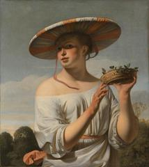 Girl with a Large Hat,Caesar van Everdingen
