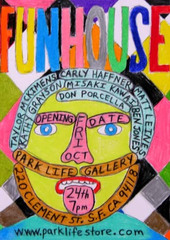 Post Card for FUNHOUSE,image hand drawn by Don Porcella
