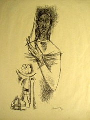 Untitled (Madonna with Flower) , M.F. Husain