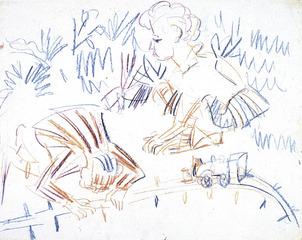 SPIELENDE KINDER IM GRAS MIT EISENBAHN, Ernst Ludwig Kirchner