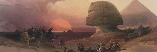 Egypt and Nubia, Volume III: Approach of the Simoon. Desert at Gizeh (after David Roberts; detail), Louis Haghe