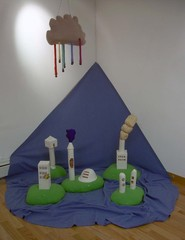 Little Buildings &amp; Little Tube Cloud (installation view),eliza fernand