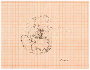 Isometric Systems in Isotropic Space: Map Projections-Fragmentation, The Snail (longitude lines), Agnes Denes