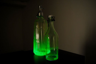 Two uranium glass Seltzer water bottles from Bulgaria and New Zealand, Circa 1910, Bettina Samson