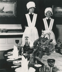 Parlourmaid and under-parlourmaid, ready to serve dinner, Bill Brandt