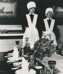 Parlourmaid and under-parlourmaid, ready to serve dinner, Bill Brandt
