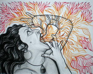 Self Portrait Speaking Fire and Flowers, Maya Gonzales