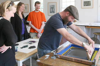 Silk Screening in our Print Studio,