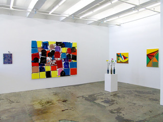 """of certain instability"" (installation view), Harriet Korman, Whitney Claflin, Hans-Peter Thomas"