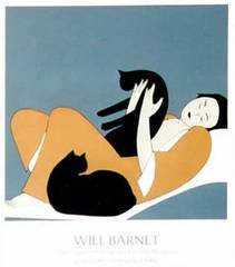 Woman and Two Cats Poster, Will Barnet