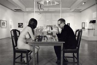 Marcel Duchamp playing chess with Eve Babitz  , Julian Wasser