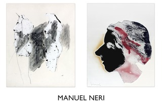 "left:  ""Untitled (Two Women)"", c.1960, collage and ink on paper, 30 1/2"" x 25"", Manuel Neri"