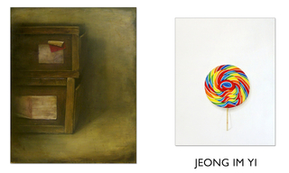 "left:  ""Still Life"", 2003, oil on canvas, 35 1/2"" x 19"", Jeong Im Yi"