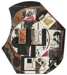 Untitled (David Bourdon Profile with Clock and Moticos Tesserae), Ray Johnson