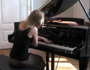Film still from Arabesque, 2011, of pianist Iris Weingartner, taken with her permission from YouTube  , Dara Birnbaum
