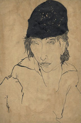 "Sketch of a woman with hat, looking right, for ""The Terrorists,"" New York Morning Telegraph Sunday Magazine,Djuna Barnes"