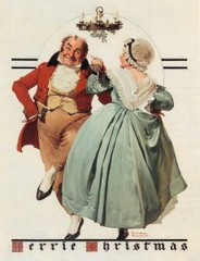 Merrie Christmas: Couple Dancing Under Mistletoe,Norman Rockwell