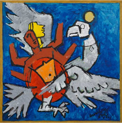 Vishnu on Garuda, M.F. Husain