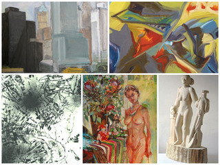 collage of five artists, Marjorie Kramer, Doug Anderson, Susan Sommer, Sam Thurston, Gulgan Aliriza