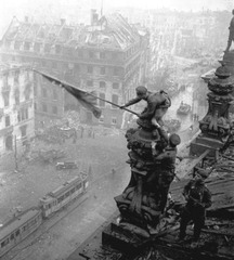 Red Army soldiers hoisting the Soviet flag over the Reichstag, Berlin, Yevgeny KHALDEI
